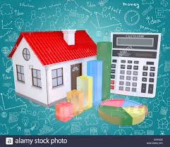 Small House With Graphical Charts Stock Photo 82094267 Alamy