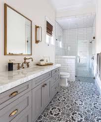 grey cabinets; mosaic tile floors, brass fixtures #Regram via ...