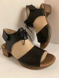 Dansko Liz Black Leather Lace Up Ankle Strap Sandals Heels Size 37 7 Women S