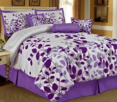 quilt sets super king bedding with leafs shades purple color combine white in rectangle pillows