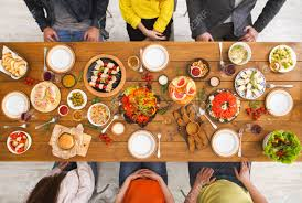 Friends Dinner Table Top View People Eat Healthy Food Together