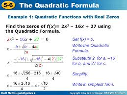 example 1 quadratic functions with real zeros