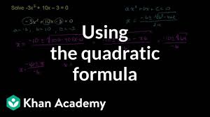 worked example quadratic formula negative coefficients khan academy