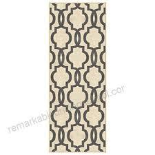 custom size ivory moroccan trellis rubber backed non slip hallway stair runner rug 22in x