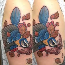 Neotraditional Style Blue Tit Bird Tattoo On The Left