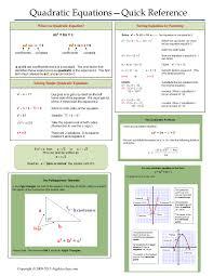 one page notes worksheet for quadratic equations unit algebra 2algebra help math