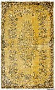yellow over dyed turkish vintage rug 5 7 x 9