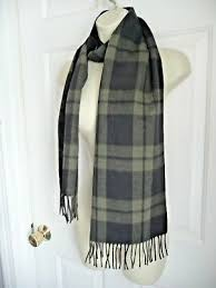 COACH <b>Scarf</b> Cashmere Wool Black Green <b>Plaid</b> UNISEX <b>Horse</b> ...