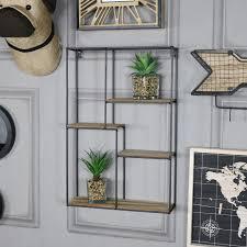 rectangle black metal and wood shelving unit