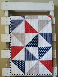 Red White Blue Cot Quilt Pinwheel Nautical Cotton Playmat. Etsy ... & Red White Blue Cot Quilt Pinwheel Nautical pattern with simple square  stitch quilting. Adamdwight.com