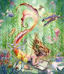 mermaid sealife art print golden tangerine orange reading via