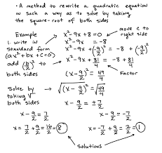 some key topics that involve solving quadratic equations by completing the square