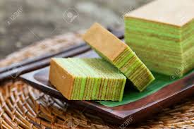 Traditional Indonesian Sweet Layer Cake On A Wooden Background Stock