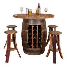 wine barrel round table top set rack base