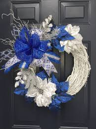 Wreath With Blue Lights Blue Christmas Wreath For Front Door White Christmas Wreath