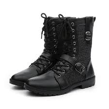 blck tactical army shoes men leather combat boots buckle mid calf motorcycle boots waterproof mens winter footwear chukka boots men slipper boots from