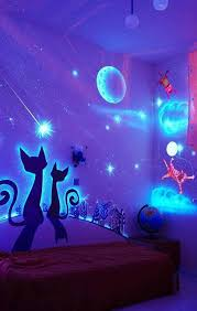glow in the dark bedroom decoration black light paint wall mural