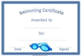 Certification Template Swimming Award Certificate Template