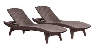 details about 2 pk keter rattan chaise lounge brown chair pool patio outdoor furniture set new