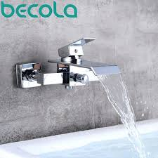 bathroom faucets wall mount waterfall bathroom faucet wall mounted chrome brass bathtub faucet hot and cold
