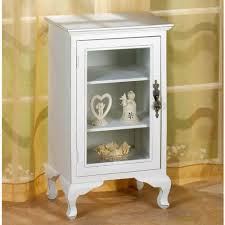 details about wood display cabinet storage white distressed glass door cottage cupboard rustic