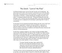 lord flies conch shell symbolism essay importance of the conch shell in lord of the flies academic about