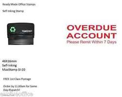 Overdue Account Overdue Account Self Inking Rubber Stamp 46x16mm Si 20 Ebay