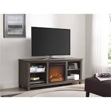 ameriwood furniture edgewood tv console with fireplace for tvs up to 60 weathered oak