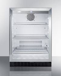 summit scr2464 built in undercounter glass door beverage refrigerator with digital controls lock and black cabinet
