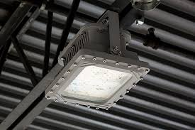 100 watt led explosion proof light class 1 div 1 and 2 hazardous locations ul1598a 13 000 lumens close up of light installed