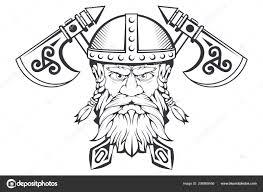 Ručně Kreslenou Viking Přilbě Skandinávská Tradiční Zbraně Kreslené