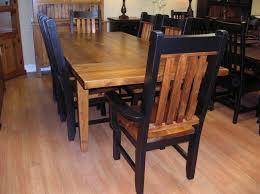 rough sawn pine 7 pc table set with large slat back rustic chairs