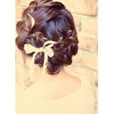 編み込みリボンアレンジ結婚式2次会に Brotoブロットのヘア