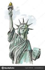 акварельный эскиз из статуя свободы нью йорк сша в иллюстрация