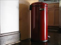 red stainless steel decorative kitchen trash cans in front of wooden kitchen cabinet and mosaic kitchen backsplash in varnished hardwood kitchen flooring