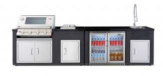 beefeater artisan outdoor kitchen linear layout with stainless steel gas bbq cast iron cook pack outdoor fridge