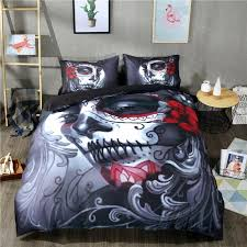gift 3d printed skull black bedding set twin queen king size duvet cover set bedsheet pillowcases bed linen set denim bedding bedroom comforters