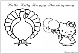 This adorable coloring book comes with 18 different giant pages to color! Hello Kitty Happy Thanksgiving 2 Coloring Pages Cartoons Coloring Pages Free Printable Coloring Pages Online