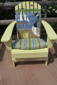 unique outdoor chairs. Polywood Adirondack Chairs For Home Exterior: Unique Outdoor Chair With Swan Painting