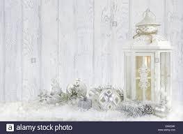 Weiße Kerze Laterne Mit Silber Und Weiß Christbaumschmuck Im