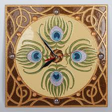 hand painted wall clock art nouveau peacock feather