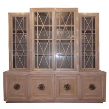 cerused walnut buffet with paned glass doors for