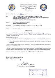 Division Memorandum No. 508, S. 2017 | Conduct Of 4Th Quarter ...
