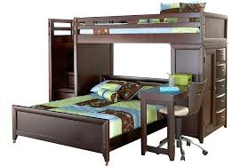 Ivy League Cherry Twin Full Step Loft Bunk with Chest and Desk - Bunk/Loft  Beds Dark Wood