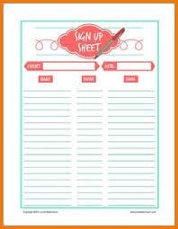 Free Printable Volunteer Sign Up Sheet Pdf From Vertex42 Com