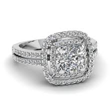 cushion cut diamond double halo engagement ring in 14k white gold