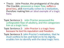 practice thesis statements and topic sentences ppt  thesis john proctor the protagonist of the play the crucible possesses a major