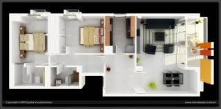 Two Bedroom Apartment Plan Exterior Design