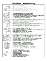 works of mercy worksheet look to him and be radiant from kids for kids practical ideas for