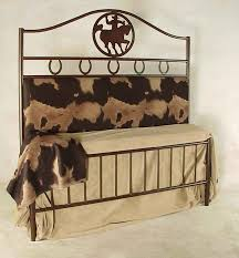 cowboy upholstered back wrought iron bed